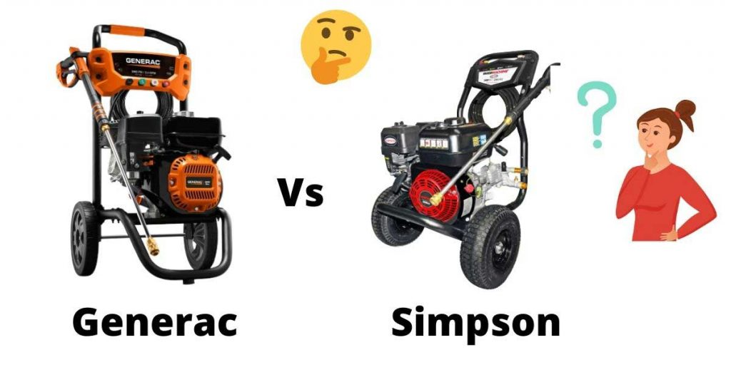 generac vs simpson pressure washer are the biggest competitor of each others.
